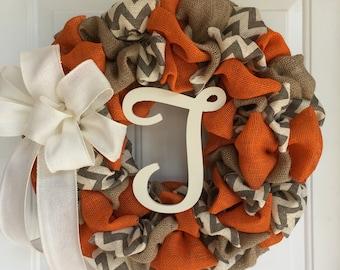 Fall wreath, Burlap Wreath, Everyday wreath, burlap everyday wreath, chevron wreath