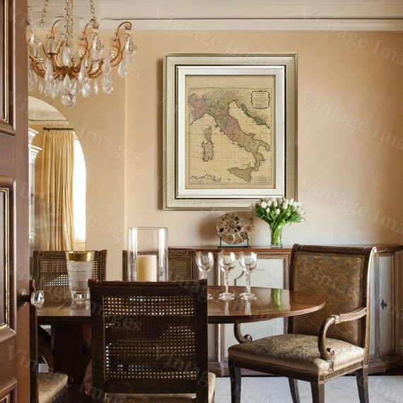 "Old map of Italy (1794) Italian map in 5 sizes up to 43""x55"" Restoration Hardware Style Vintage map of Italy, Antique Home Decor Wall map"
