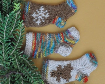 Gingerbread Girl, Varigated & Snowflake Hand-Knit Christmas Stockings Ornaments