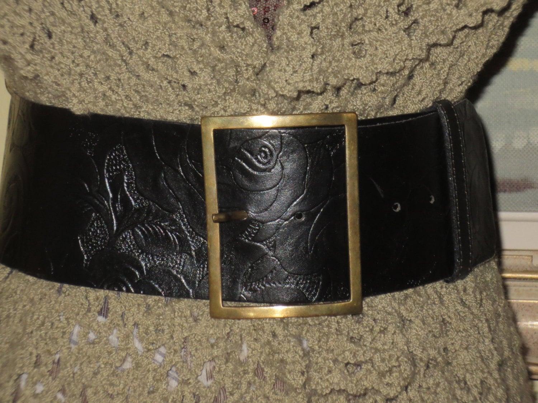 s vintage wide black leather belt alain by