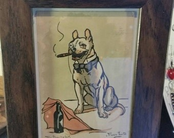 The Bachelor' bulldog monacle cigar framed vintage postcard by Thomas Linton