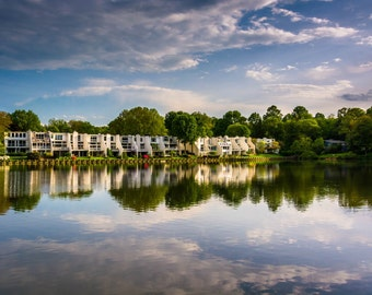 Beautiful sky reflecting in Wilde Lake, in Columbia, Maryland.   Photo Print, Stretched Canvas, or Metal Print.