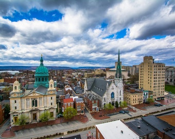 View of churches and buildings on State Street, in Harrisburg, Pennsylvania. | Photo Print, Stretched Canvas, or Metal Print.
