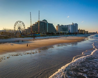 View of hotels and rides along the boardwalk from the fishing pier, Daytona Beach, Florida.   Photo Print, Stretched Canvas, or Metal Print.
