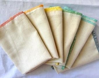 All Natural Unpaper Towels - one dozen -  Unbleached, Reusable Paper Towel Alternatives - Rainbow Pack