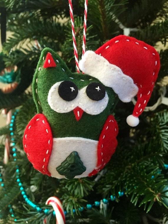 Felt santa owl ornament