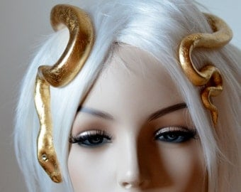Golden Serpent Circlet, Snake Headpiece / Headdress in gold and silver, for special occaisions, formal, festivals, burning man