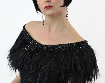 Promo Sale Black Ostrich Feather Wrap/ Shrug for Formal or Bridal Gown / Free Shipping