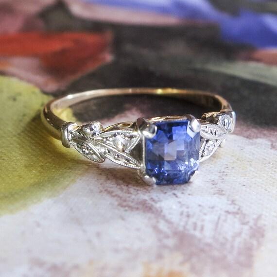 Edwardian 1920's 1.25ct t.w. Sapphire & Diamond Ring
