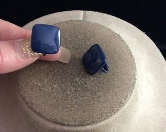 Vintage Square Shaped Blue Enameled Clip On Earrings