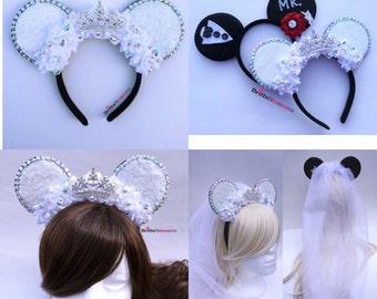 Princess Mouse Ears, Mrs Mouse Ears, Bride Minnie Ears, Minnie Mouse Ears, Mickey Mouse Ears, Disneyland, Disney World, Bridal Mouse Ears