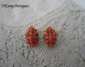 Faux coral earrings clip ons