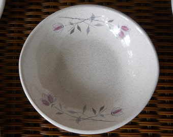 Vintage 1956 to 1961 Franciscan Duet Pattern Oval Shaped Earthenware Bowls with Pretty Flowers ~ Set of Four Bowls ~ Natural Bounty Vintage