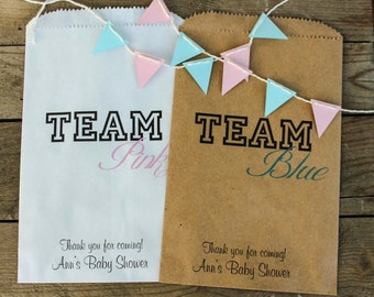 Baby Shower Treat Bags/ Favor Bags/ Candy Bags/ Team Blue Team Pink