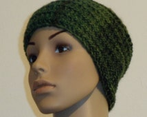 Knitted Cap made of green color gradient yarn