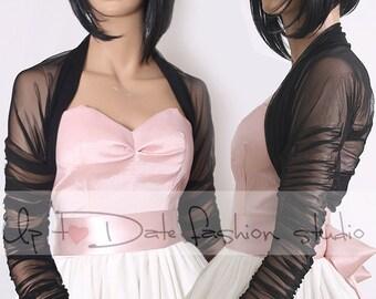 Bridal BLACK tulle jacket/cover up/ long sleeves wedding bolero