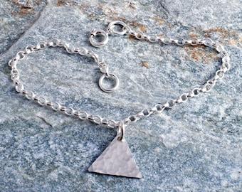 Silver triangle ankle bracelet sterling silver 925 hammered triangle charm chain ankle bracelet anklet