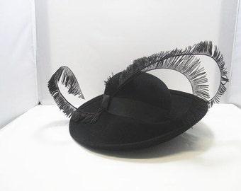 1950's Mr. John Hat / Ladies 100% Wool Excello Mr.John Classic NY Paris Black Feather Hat