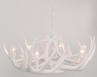 White antler chandelier faux antler chandelier w12c white antler chandelier faux antler chandelier w9 antler chandelier antler lighting mozeypictures Image collections