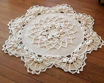 Crochet rug, crochet carpet, round  rug, knitted carpet, knitted rug 48,5 inc