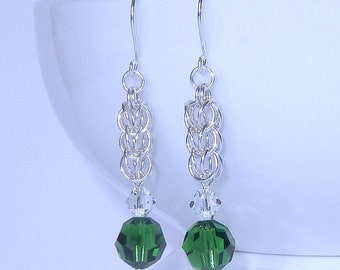 Sterling silver crystal earrings with Swarovski elements, full persian chainmaille earrings, women's earrings, green crystal earrings