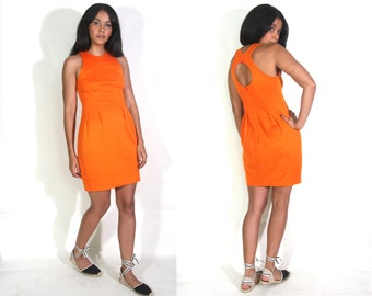 Vintage 90s Orange Cotton Knit Circle Cut Out Back Body Con Mini Dress Glam