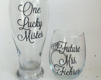Mr and Future Mrs Glass Set, Personalized Engagement Gift, Bridal Shower Gift, Future Mrs Gift, Soon to be Mrs Gift, Engagement Party Gift