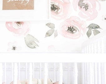 Jolie Floral - Large Mural Wallpaper, Watercolor Wall Mural