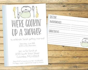 Kitchen Themed Bridal Shower Invitation and Recipe Card Digital File