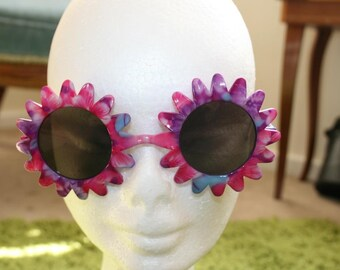 Tie dye Retro Round Flower Sunglasses