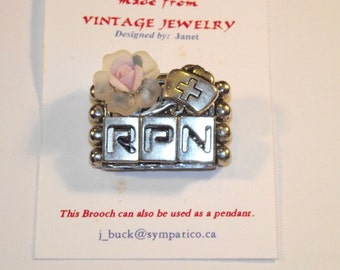 Nurse RPN Themed Brooch. 1-of-a-kind Collage Brooch &/or Pendant made from vintage jewelry.  Silver Plate. Rose. #45h.