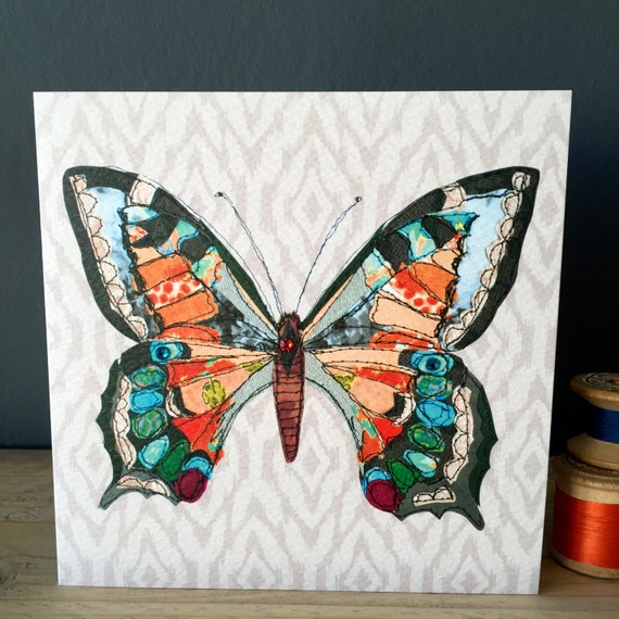 Solo Butterfly- Greeting Card- handfinished