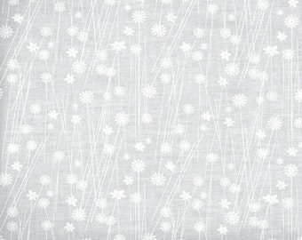 White fabric by the yard - White on white fabric - white floral bursts cotton fabric by the yard - tone on tone fabric - #16414