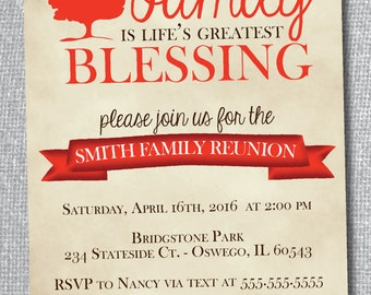 Rustic Family Reunion Invitation-Digital File-Custom Colors