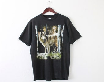 LARGE Vintage 1990s Wolf in Woods Graphic T-Shirt