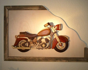 Motorcycle, intarsia