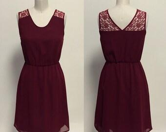 Annie (Burgundy) : Burgundy red chiffon dress, lace illusion, v cut back, day to night, vintage, bridesmaid