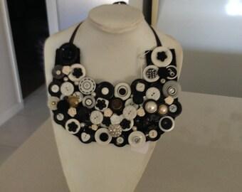 shabby chic button bib necklace