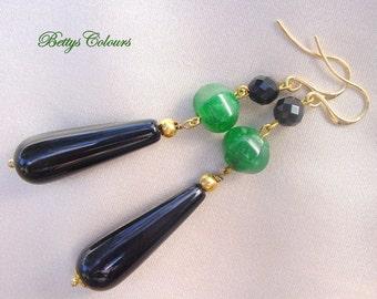 20% SALE Onyx earrings, agate earrings, teardrops earrings, long earrings,onyx teardrops, dangle earrings