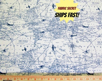 Planes Fabric by the Yard Premier Prints maps globe Air Traffic Felix Blue Natural - 1 yard or more -  SHIPS FAST