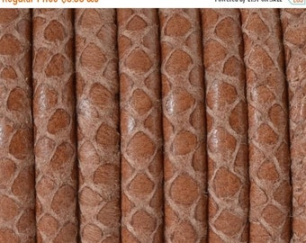 """On Sale NOW 25%OFF Best Quality Snake Embossed 5mm Round Wire Core Leather Cord Camel  16"""""""