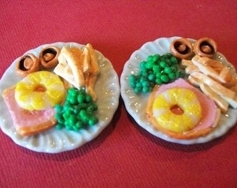 Barbie, Sindy doll food. Ham dinner for two