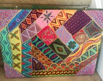 "Hand Painted Bohemian  Recycled Wood Quilt Design Youth Art Portfolio Box  19""Wx2""Hx14.5""D  B0061"