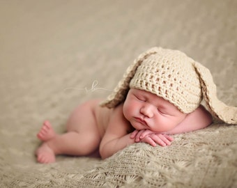Floppy Ear Bunny Baby Hat, Baby Bunny Costume, Bunny Newborn Photo Prop - ANY COLOR