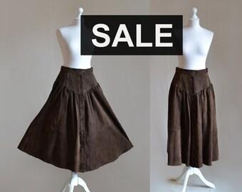 Brown long suede skirt Button down skirt Midi High waisted A line Prairie