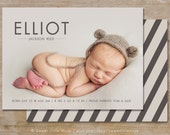 Birth Announcement Template - 5x7 boy birth announcement template - photography template  INSTANT DOWNLOAD