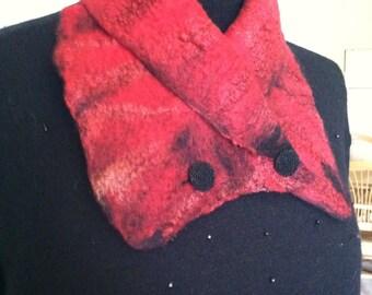 Nuno felted neck warmer, neck warmer, felted collar, red collaro