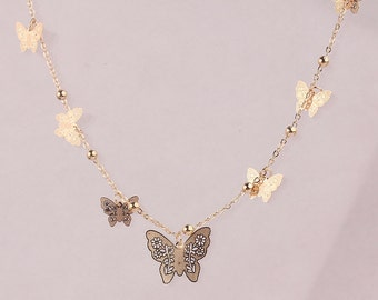 Delicate 14Kt Gold Butterfly Necklace