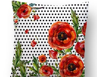 Red Flowers & Polka Dots Accent Pillow Cover - Throw Pillows - Decorative Pillows