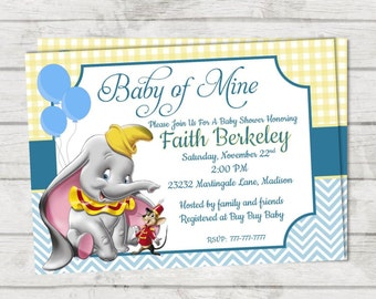 DIY PRINTABLE Baby Shower Invitation Baby Of Mine | Dumbo Baby Shower |  Quote Dumbo |